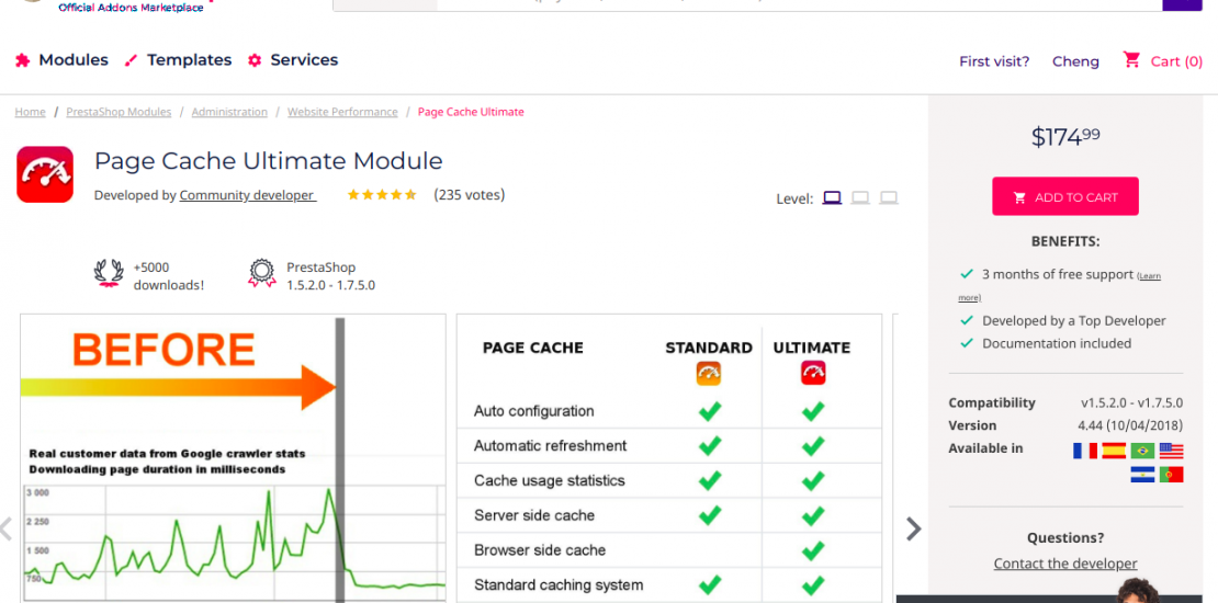 PrestaShop Page Cache Ultimate module installation